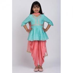 Biba Poly Turquoise Cotton 3/4 Sleeve Salwar Suit