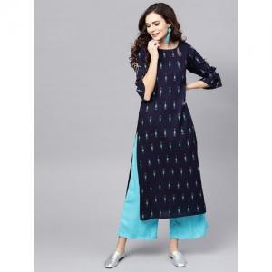 Libas Women Printed Straight Kurta(Dark Blue)