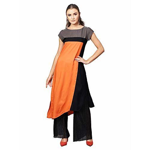 Ives Peach Colour Block Print Knee Length Kurti For Women - XL