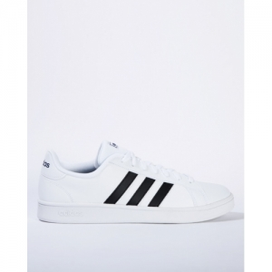 ADIDAS White Leather Lace-Up Sneakers