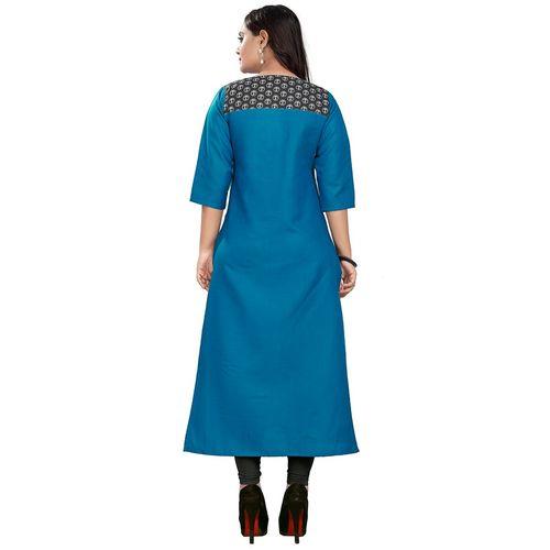 Rangrasiya printed contrast yoke straight kurta