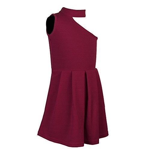 Addyvero Maroon Cotton One-Shoulder Dress