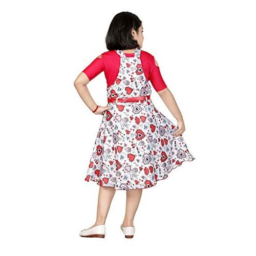 Indokids Pink Satin Cold Shoulder Dungaree With Dress