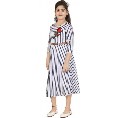 Ftc Fashion White Cotton Striped Solid Dress