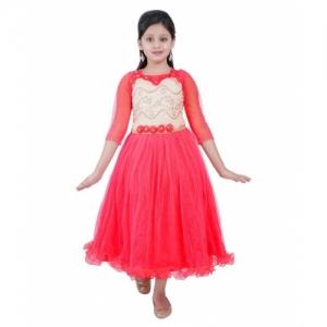 Saarah Red Net 3/4 Sleeve Dress