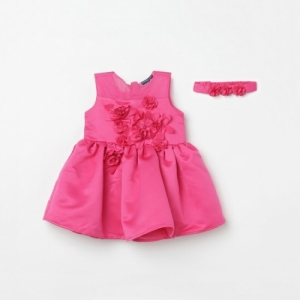 Juniors Pink Polyester Sleeveless Dress with Hairband