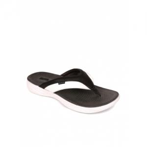 Duke Dark Brown & White Leather Texured Flip Flops