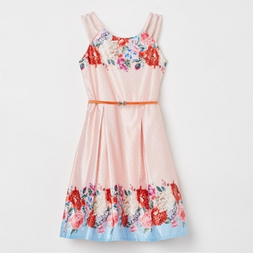 Peppermint Peach Polyester Polka Dot Floral Dress
