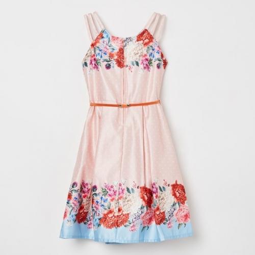 Peppermint Peach Polyester Polka Dot Floral Dress