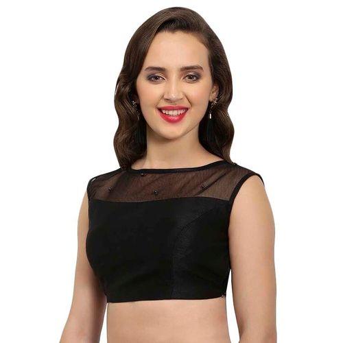 JustB black georgette solid blouse