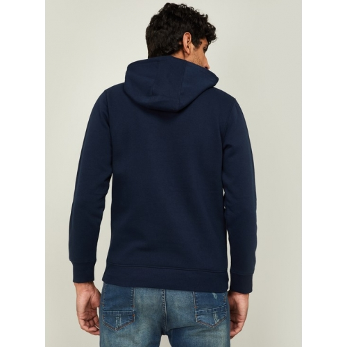 INDIAN TERRAIN Navy Blue Cotton Printed Full Sleeves Hooded Sweatshirt