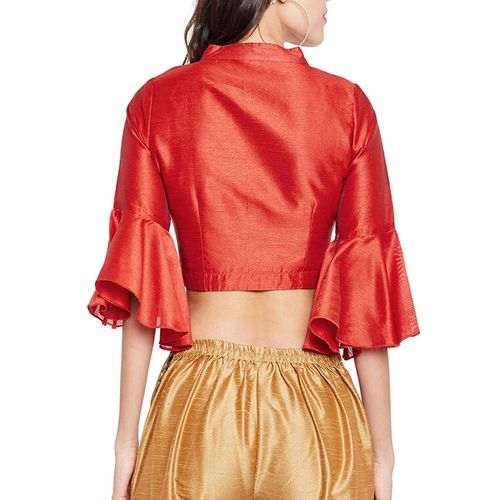 Meee! red silk solid blouse