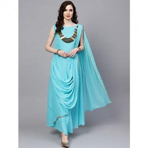 Chhabra555 cowl solid flared gown