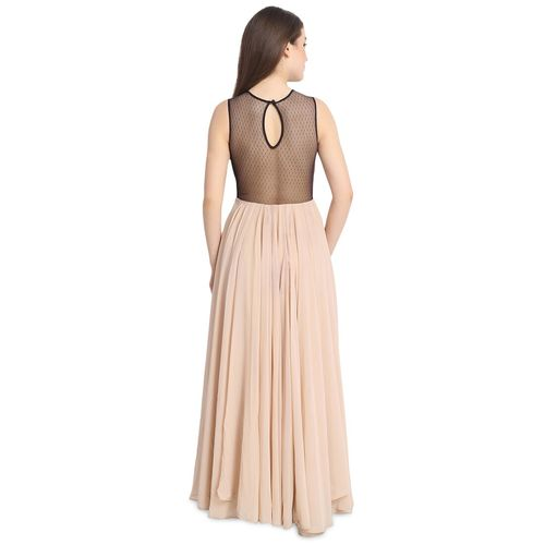 Urs contrast solid a-line gown