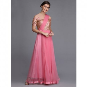 OJJASVI sequined draped dupatta flared gown