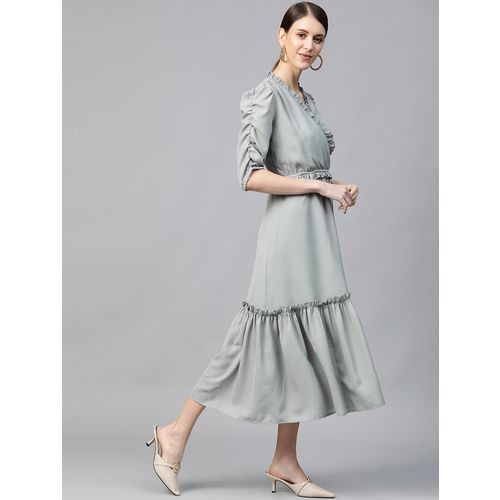PLUSS overlap neck tiered a-line dress