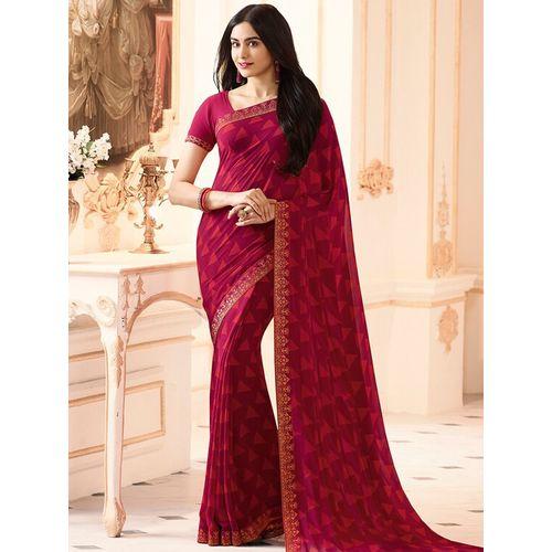 Dhanu Fashion magenta printed saree with blouse