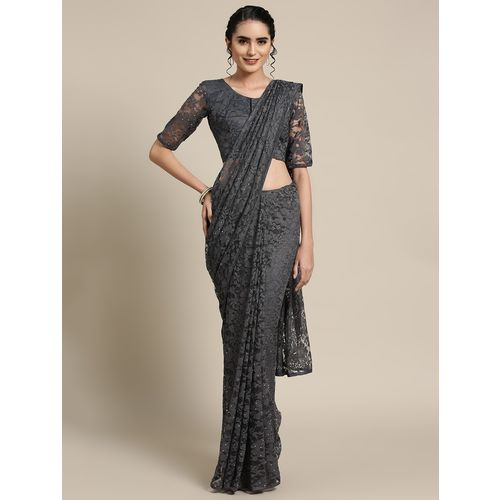 Aloki net solid saree with blouse