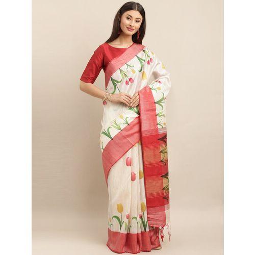 ATULYAM TEX WORLD floral bhagalpuri saree with blouse