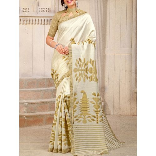 Aloki cream art silk bhagalpuri saree with blouse