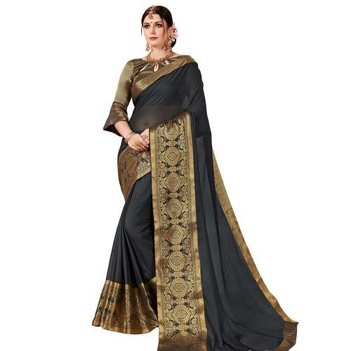 UNITED LIBERTY solid bordered saree with blouse