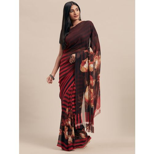 shaily floral printed saree with blouse