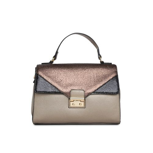 Addons gold leatherette (pu) regular handbag