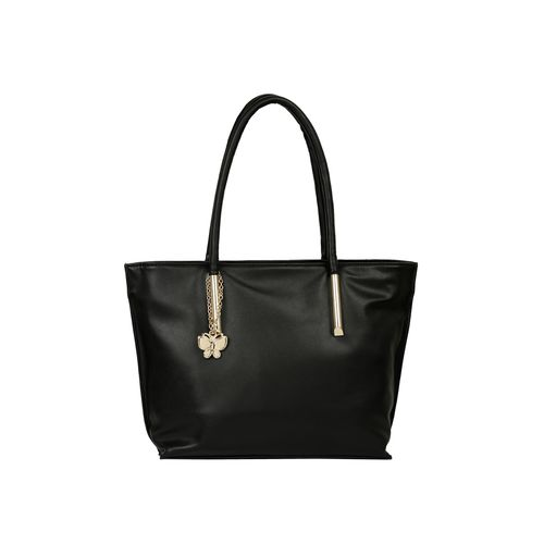 Butterflies black leatherette (pu) regular handbag