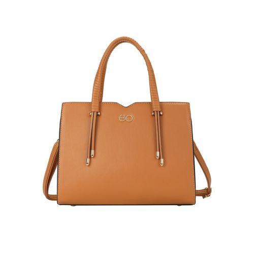 E2O brown leatherette (pu) regular handbag