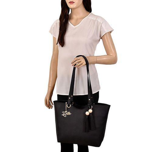 LaFille black leatherette (pu) regular handbag