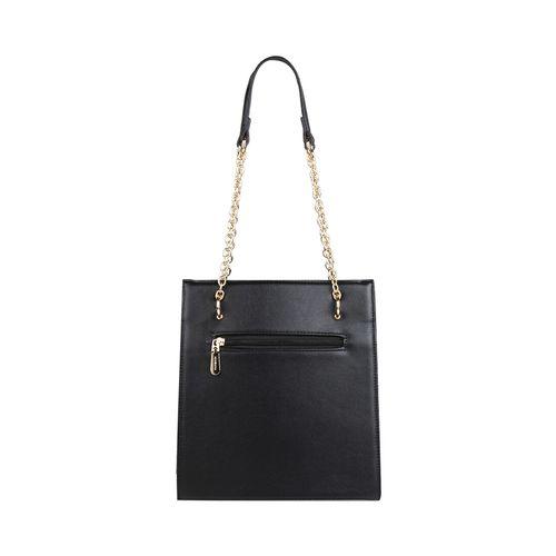 Addons black leatherette (pu) regular handbag