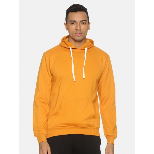 Campus Sutra Yellow Cotton Solid Long Sleeves Hooded Sweatshirt
