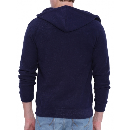 Campus Sutra Navy Blue Cotton Solid Long Sleeves Sweatshirt