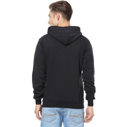 Campus Sutra Black Cotton Printed Long Sleeves Sweatshirt