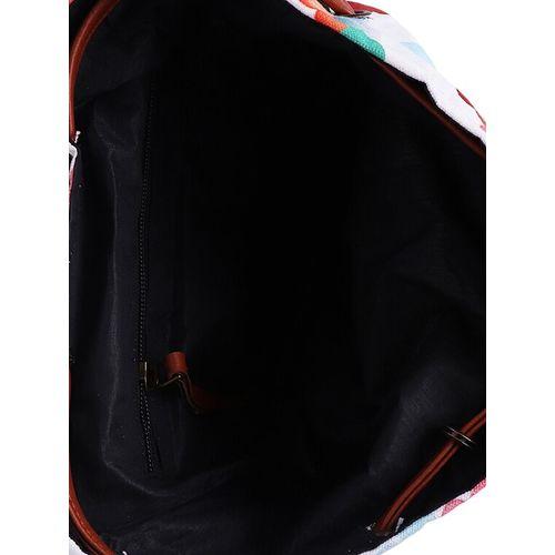 MARISSA white canvas printed sling bag
