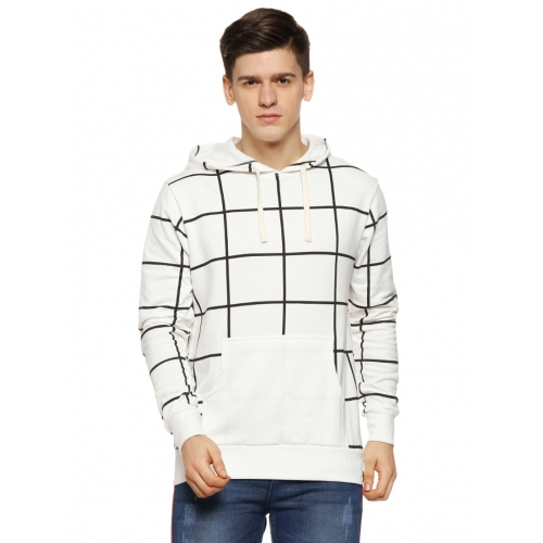 Campus Sutra White Cotton Checked Long Sleeves Sweatshirt