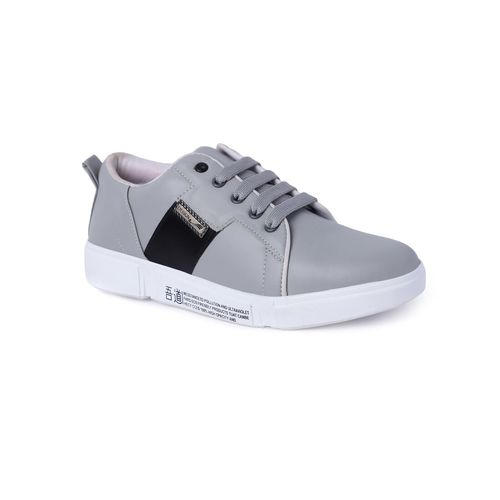 Shoefellow grey leatherette lace up sneakers