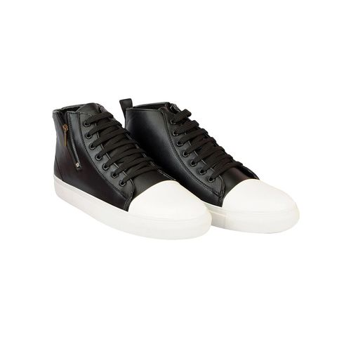 FAUSTO black leatherette lace up sneaker
