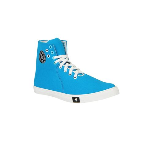 FAUSTO blue canvas lace up sneakers