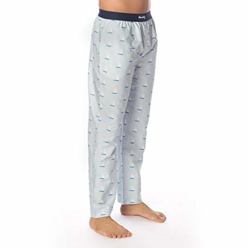 SMUGGLERZ INC. Sailboat Printed Cotton Pyjama Pants for Men Blue