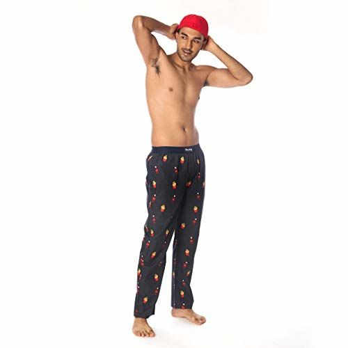 SMUGGLERZ INC. COLA & Fries Printed Cotton Pyjama Pants for Men Black
