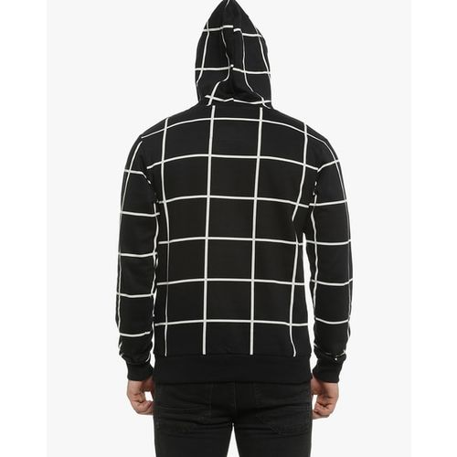 Campus Sutra Checks Hooded Sweatshirt