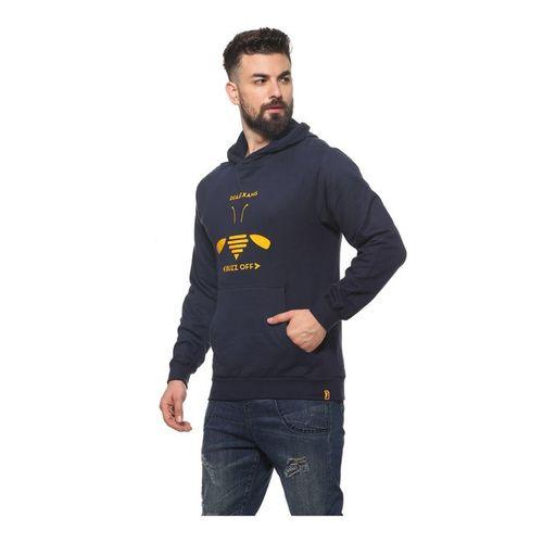 Campus Sutra Navy Printed Full Sleeves Hooded Sweatshirt
