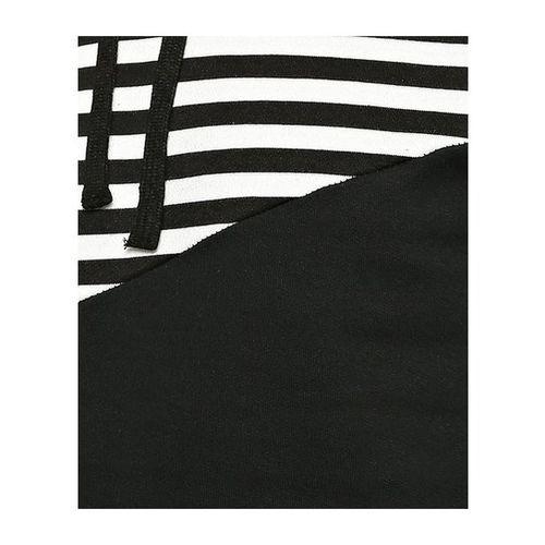 Campus Sutra White & Black Striped Full Sleeves Hooded Sweatshirt
