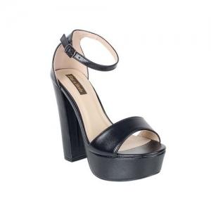 flat n heels black faux leather ankle strap sandals