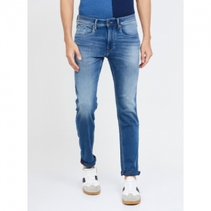 FLYING MACHINE Blue Cotton Solid Slim Tapered Jeans