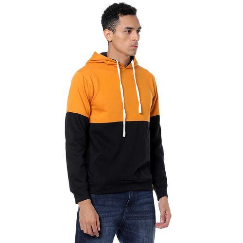 Campus Sutra orange color block cut & sew sweatshirt
