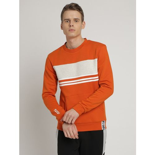 BON BLCK orange taped color block sweatshirt