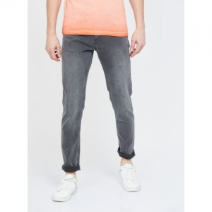 FORCA Grey Cotton Solid Slim Tapered Jeans