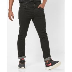 DNMX Black Cotton Solid Jeans